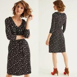 Boden Logan Jersey Dress Black Painted Daisy